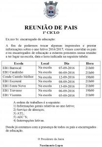 REUNIÕES 1º CICLO